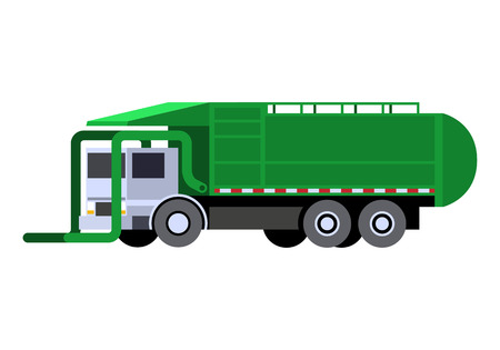 Minimalistic icon garbage truck front loader . Garbage truck vehicle front side view. Vector isolated illustration.