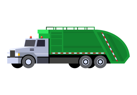 Minimalistic icon garbage truck front side view. Garbage truck vehicle. Vector isolated illustration.