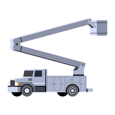 Minimalistic icon bucket truck front side view. Aerial work bucket vehicle. Vector isolated illustration.