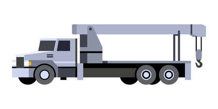 Minimalistic icon crane boom truck front side view. Crane lift vehicle. Vector isolated illustration.
