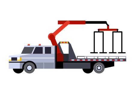 Minimalistic icon car hauler truck with crane boom front side view. Car carrier vehicle. Vector isolated illustration. Stock Illustratie