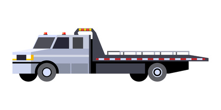 Minimalistic icon car hauler truck front side view. Car carrier vehicle. Vector isolated illustration. Illustration