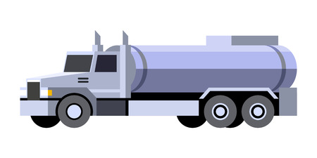 Minimalistic icon oil tanker truck front side view. Fuel tank vehicle. Vector isolated illustration.