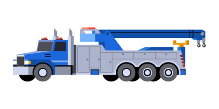 Minimalistic icon tow truck front side view. Wrecker vehicle. Vector isolated illustration.