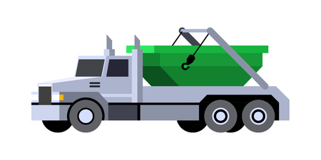 Minimalistic icon lugger truck front side view. Refuse vehicle. Vector isolated illustration.