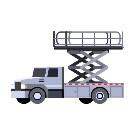 Minimalistic icon aerial man lift truck front side view. Aerial work platform vehicle. Vector isolated illustration.