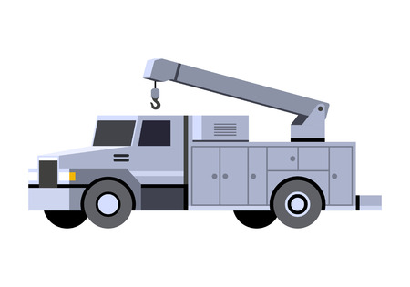 Minimalistic icon service truck with crane boom front side view. Crane service vehicle. Vector isolated illustration.