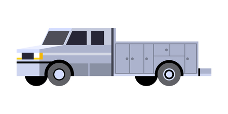 Minimalistic icon service truck front side view. Mobile service vehicle. Vector isolated illustration.