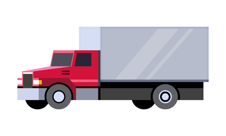 Minimalistic icon box truck front side view. Cube vehicle. Vector isolated illustration. Иллюстрация