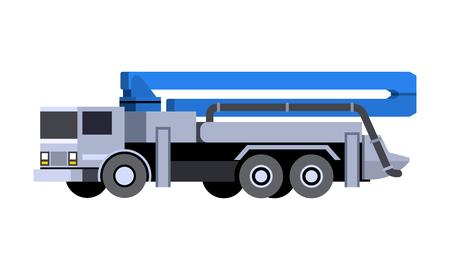 Concrete pump truck icon front side view illustration.