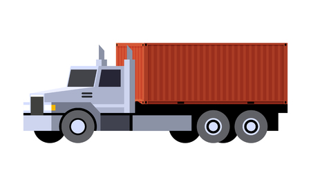 Minimalistic icon container truck front side view. Container box vehicle. Vector isolated illustration.