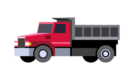 Minimalistic icon dump truck front side view. Dumper vehicle. Vector isolated illustration.