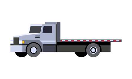 Minimalistic icon flatbed truck front side view. Utility service vehicle. Vector isolated illustration.