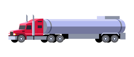 Minimalistic icon tanker truck front side view. Semi trailer vehicle. Vector isolated illustration. Stock Illustratie