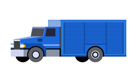 Minimalistic icon bottle truck front side view. Panel box vehicle. Vector isolated illustration.