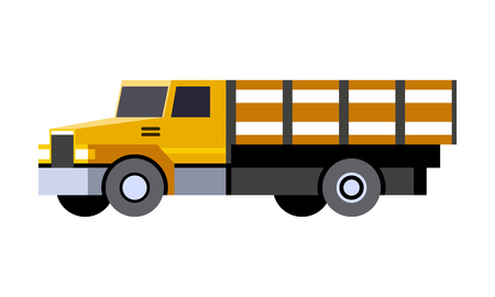 Minimalistic icon stake bed truck front side view. Rack vehicle. Vector isolated illustration.