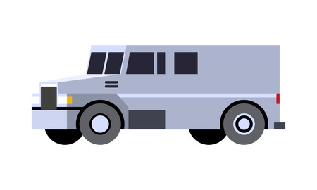 Minimalistic icon armored cash truck front side view. Utility security van vehicle. Vector isolated illustration.