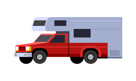 Minimalistic icon camper shell on red pickup truck front side view. Camper shell vehicle. Vector isolated illustration. Иллюстрация