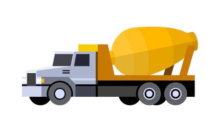Minimalistic icon cement mixer truck front side view. Mixer truck vehicle. Vector isolated illustration. Иллюстрация