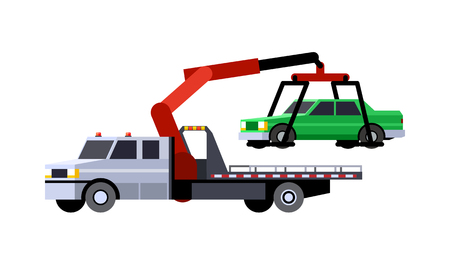 Minimalistic icon car hauler truck with crane boom front side view. Car carrier vehicle. Vector isolated illustration. Иллюстрация
