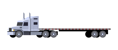 Minimalistic icon flatbed trailer tractor front side view. Semi trailer vehicle. Vector isolated illustration.
