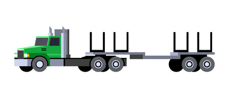 Minimalistic icon logging truck trailer front side view. Logging tractor truck vehicle. Vector isolated illustration. Stock Illustratie
