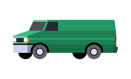 Minimalistic icon panel van front side view. Vector isolated illustration.