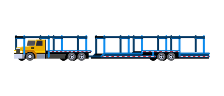 Minimalistic icon car carrier truck front side view. Car hauler with trailer vehicle. Vector isolated illustration.