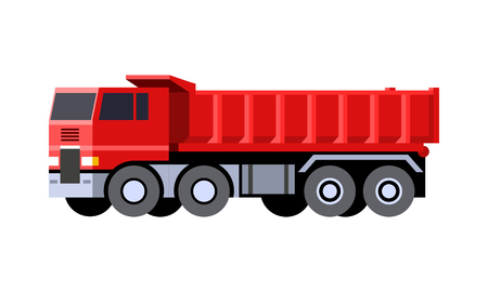 Minimalistic icon dump truck front side view. Dumper vehicle. COE - cab over engine truck. Vector isolated illustration. Иллюстрация