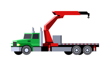 Minimalistic icon knuckle boom crane truck front side view. Mobile crane vehicle. Vector isolated illustration.