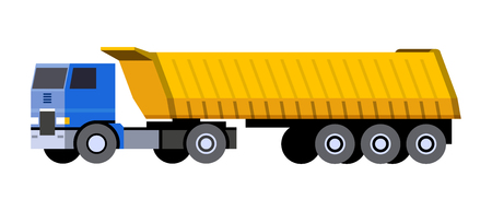 Minimalistic icon semi-trailer tractor dump truck front side view. Dumper COE cab over engine vehicle. Vector isolated illustration.