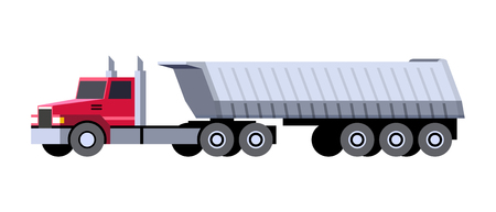 Minimalistic icon semi-trailer tractor dump truck front side view. Dumper vehicle. Vector isolated illustration.