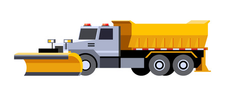 Minimalistic icon snow plow truck front side view. Utility snow removal vehicle. Vector isolated illustration. Illustration