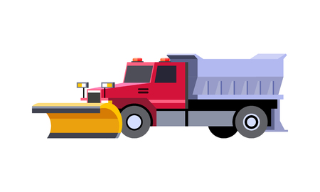 Minimalistic icon snow plow truck front side view. Utility snow removal vehicle. Vector isolated illustration. Vettoriali