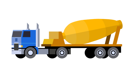 Minimalistic icon semi-trailer tractor cement mixer truck front side view. Mixer truck vehicle. COE - cab over engine truck. Vector isolated illustration. Illustration