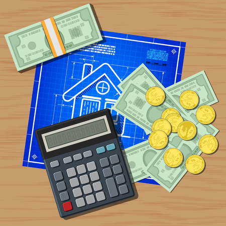 Calculator, bill and coins on house blueprint concept. Vector illustration with wooden background