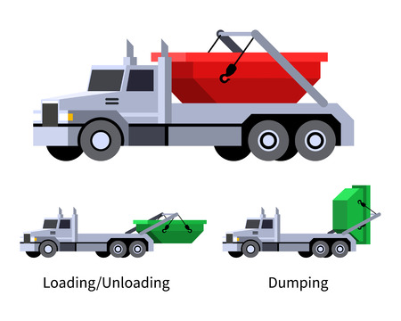 Minimalistic icon lugger truck front side view. Refuse dumpster vehicle. Modern vector isolated illustration.
