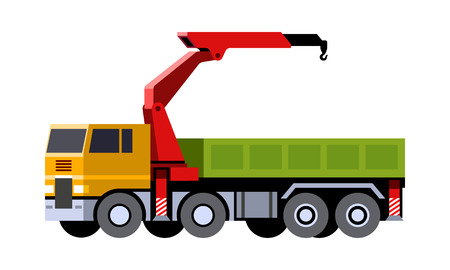 Minimalistic icon knuckle boom crane truck front side view. Mobile crane vehicle. Modern vector isolated illustration. COE - cab over engine