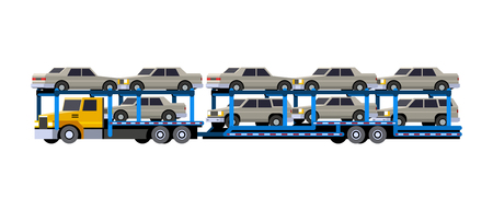 Minimalistic icon of loaded car carrier truck front side view. Car hauler with trailer vehicle. Modern vector isolated illustration. Иллюстрация