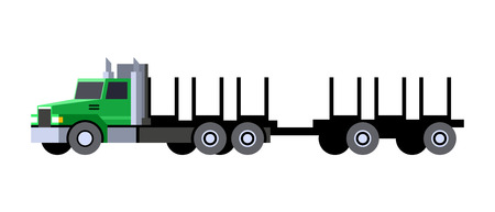 Minimalistic icon logging truck front side view. Timber vehicle with trailer cart. Modern vector isolated illustration. Иллюстрация