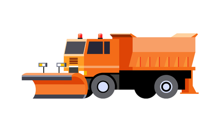 Minimalistic icon snow plow truck front side view. Utility snow removal vehicle. Vector isolated illustration. COE - cab over engine