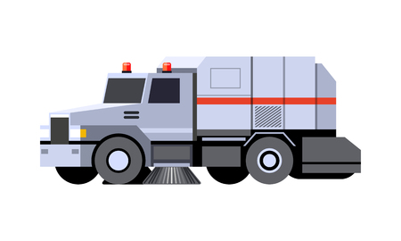 Minimalistic icon city sweeper truck front side view. Street sweeper vehicle. Modern vector isolated illustration. COE - cab over engine