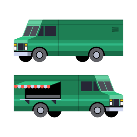 Minimalistic icon food truck front side view. Panel van vehicle. Vector isolated illustration.