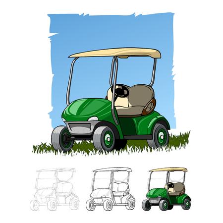Carro de golf en campo de golf. Ilustración de vector de color aislado abstracto.