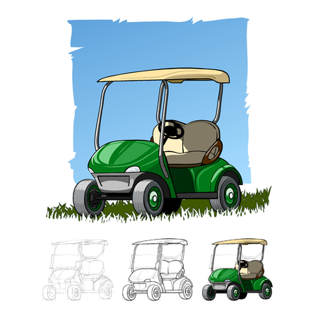 Golf cart on golf resort. Abstract isolated color vector illstration.