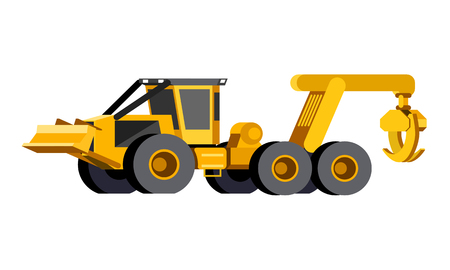 Minimalistic icon wheeled skidder front side view. Grapple skidder vehicle. Modern vector isolated illustration.