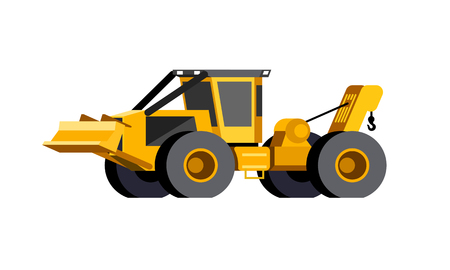 Minimalistic icon wheeled cable skidder front side view. Cable skidder vehicle. Modern vector isolated illustration. Иллюстрация