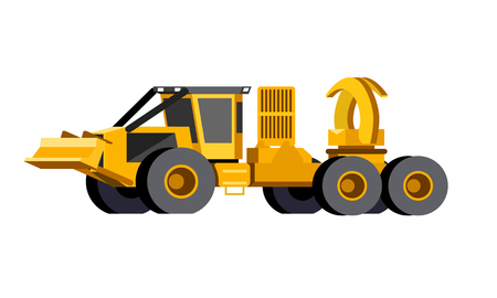 Minimalistic icon clam bunk skidder front side view. Grapple clambunk vehicle. Modern vector isolated illustration. Иллюстрация