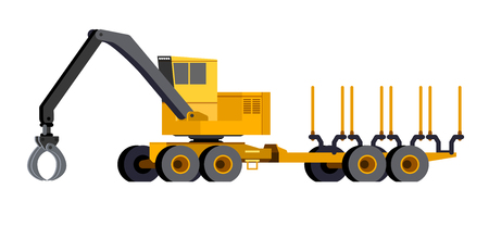Minimalistic icon loader forwarder front side view. Loader forwarder for working at saw mill or lumber yard. Modern vector isolated illustration. Иллюстрация