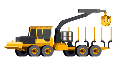 Minimalistic icon log forwarder front side view. Log crane vehicle. Modern vector isolated illustration. Иллюстрация